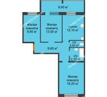 3 комнатная квартира 72,8 м² в ЖК Удачный 2, дом № 1 - планировка