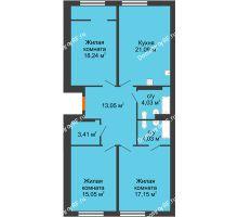 3 комнатная квартира 96,05 м² в ЖК Тесла Парк, дом ГП-2 - планировка