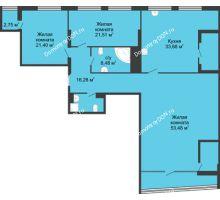 3 комнатная квартира 187,43 м², ЖК Адмирал - планировка