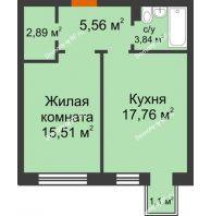 1 комнатная квартира 45,89 м² в ЖК Новоостровский, дом № 2 корпус 1 - планировка