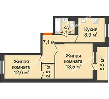 2 комнатная квартира 55,9 м² в ЖК Жюль Верн, дом № 1 корпус 2 - планировка