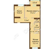 2 комнатная квартира 61,9 м² - Жилой дом: в квартале улиц Вольская-Витебская