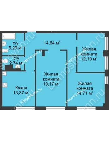 3 комнатная квартира 82,11 м² в ЖК Караваиха, дом № 5