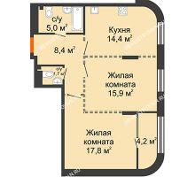 2 комнатная квартира 65,3 м², ЖК Лайнер на Барминской - планировка