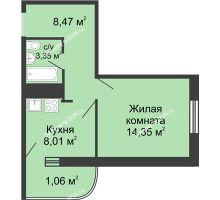 1 комнатная квартира 34,25 м² - ЖК Центральный-2