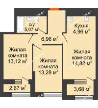 2 комнатная квартира 61,39 м² в ЖК Дом на Набережной, дом № 1 - планировка