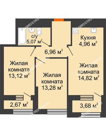 2 комнатная квартира 61,39 м² в ЖК Дом на Набережной, дом № 1