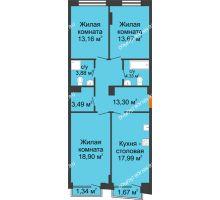 3 комнатная квартира 89,62 м², Клубный дом на Ярославской - планировка