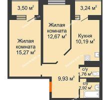 2 комнатная квартира 56,11 м² в ЖК Губернский, дом Литер 29 - планировка