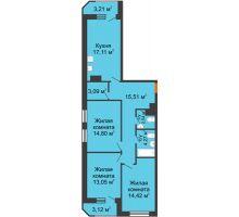 3 комнатная квартира 91,12 м² в ЖК Город времени, дом № 18 - планировка