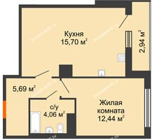 2 комнатная квартира 44,41 м² в ЖК intellect-Квартал (Интеллект-Квартал), дом 2 секция - планировка