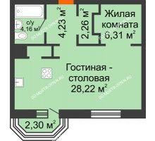 1 комнатная квартира 46,84 м², ЖК Дом на Гребешке - планировка