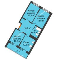 3 комнатная квартира 60,7 м² в ЖК Грани, дом Литер 4 - планировка