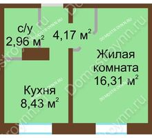 1 комнатная квартира 31,87 м² в ЖК Мончегория, дом № 1