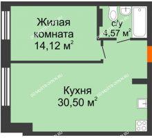 1 комнатная квартира 49,19 м², ЖК Шаляпин - планировка