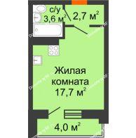 Студия 26 м² в ЖК Парк Победы, дом Литер 4 - планировка