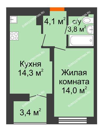 1 комнатная квартира 37,9 м² в ЖК Заречье, дом № 1