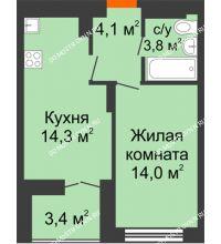 1 комнатная квартира 37,9 м² в ЖК Заречье, дом № 1, секция 1 - планировка