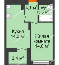 1 комнатная квартира 37,9 м² в ЖК Заречье, дом №1, секция 2 - планировка