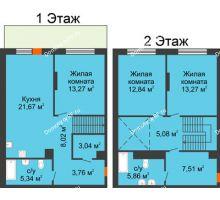 3 комнатная квартира 99,66 м² в ЖК Октябрьский, дом ГП-3 - планировка