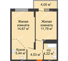 2 комнатная квартира 44,65 м² в ЖК Фрунзе, 85, дом № 3 - планировка