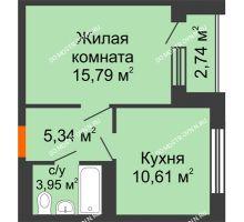 1 комнатная квартира 38,6 м², ЖД Весна - планировка