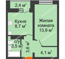 1 комнатная квартира 35 м² в ЖК Корабли, дом № 10 - планировка