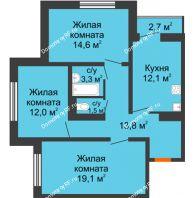 3 комнатная квартира 77,8 м² в ЖК Задонье, дом Позиция 2 - планировка