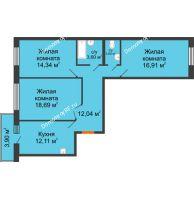 3 комнатная квартира 80,86 м² в ЖК Бограда, дом № 2 - планировка