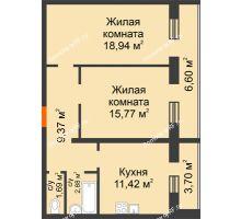 2 комнатная квартира 70,65 м², ЖК Дом на Троицкой - планировка