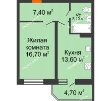 1 комнатная квартира 47,5 м² в ЖК Звездный-2, дом № 4 - планировка