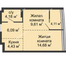 2 комнатная квартира 43,1 м², ЖК Белый Ангел - планировка