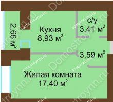 1 комнатная квартира 34,66 м² в ЖК Парк Горького, дом 62/6, № 3