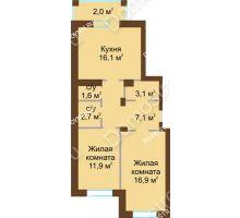 2 комнатная квартира 63,9 м² - Жилой дом: в квартале улиц Вольская-Витебская