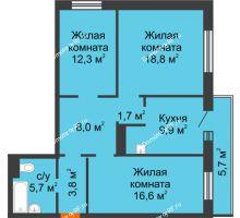 3 комнатная квартира 78,5 м² в ЖК Лесной массив, дом Строение 9 - планировка