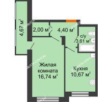 1 комнатная квартира 37,42 м² в ЖК Москва Град, дом 60/1 - планировка