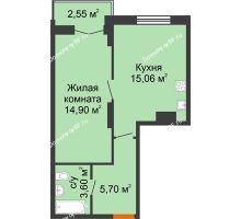 1 комнатная квартира 41,81 м² в ЖК Рассвет, дом № 8 - планировка