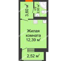 Студия 21,44 м² в ЖК Москва Град, дом 61 - планировка