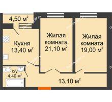 2 комнатная квартира 73,2 м² в ЖК Олимп, дом № 1 - планировка