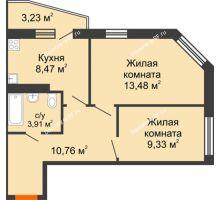 2 комнатная квартира 47,56 м², ЖК 9 Ярдов - планировка