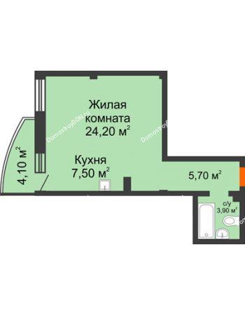 1 комнатная квартира 42,5 м² - ЖК Южная Башня
