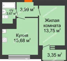1 комнатная квартира 40,44 м² в ЖК Книги, дом № 1 - планировка