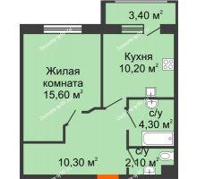 1 комнатная квартира 44,2 м² в ЖК Италия, дом Литер 9 - планировка