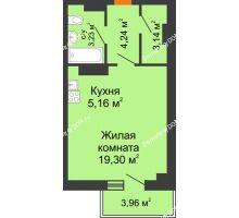 Студия 37,13 м² в ЖК Сокол на Оганова, дом Литер 6 - планировка