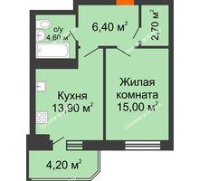 1 комнатная квартира 46,8 м² в ЖК Звездный-2, дом № 3 - планировка