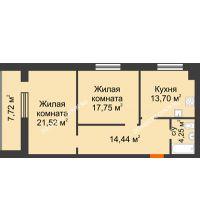 2 комнатная квартира 75,52 м² в ЖК Парк Горького, дом 62/18, № 6 - планировка