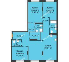 3 комнатная квартира 106,49 м² в ЖК Октябрьский, дом ГП-3 - планировка