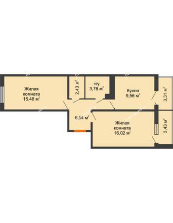 2 комнатная квартира 57,15 м² в ЖК Семейный парк, дом Литер 2