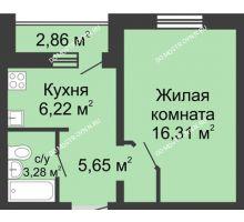1 комнатная квартира 31,46 м² в ЖК Бурнаковский, дом № 39