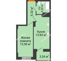 1 комнатная квартира 38,66 м² в ЖК Аврора, дом № 3 - планировка